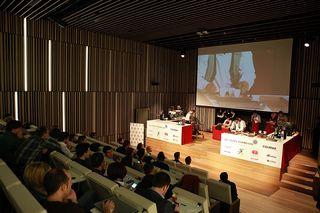 Aspecto del escenario y del auditorio del Basque Culinary Center donde se celebró la prueba