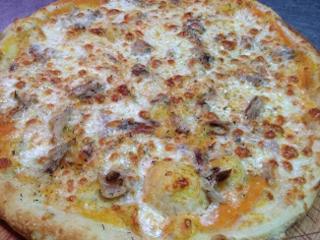 Pizza con la que ganó el Campeonato del mundo 2008 en Roma. Puré de calabaza, perdiz escabechada y queso