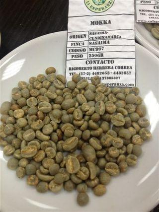 Granos de café en verde
