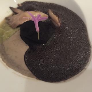 Trufa con setas fermentadas y berza al aceite de oliva. Martin Bersatagui